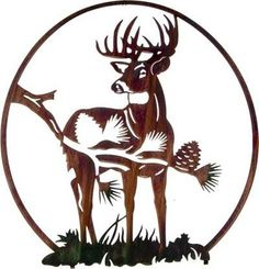 Metal Wall Art - Whitetail Deer with Pine Vignette Hanging Metal Wall Art