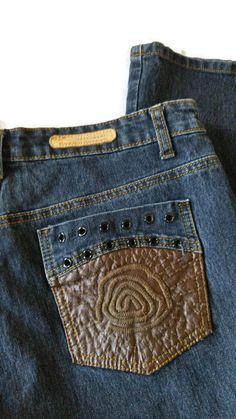 Cosmopolitan Womens Jeans With Faux Leather Pockets BOHO Size 6 Flare Leg Pants #Cosmopolitan #BOHO #Hippie