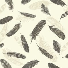 Arthouse Feathers Wallpaper - Black and Cream - http://godecorating.co.uk/arthouse-feathers-wallpaper-black-and-cream/
