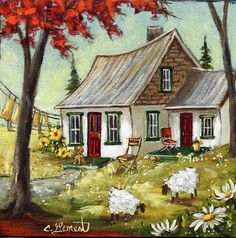 fall house Landscape Artwork, Watercolor Landscape, Watercolor Paintings, Autumn Painting, Autumn Art, Cottage Art, Acrylic Artwork, Naive Art, House Painting
