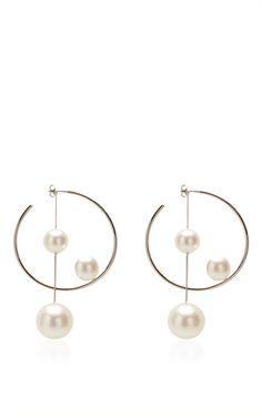 Ivory Pearl Hoop Earring by Salvatore Ferragamo for Preorder on Moda Operandi