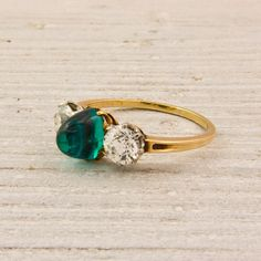 Antique Sugarloaf Emerald and Diamond Engagement Ring. $7,900.00, via Etsy.