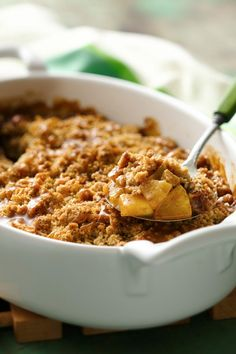 5-ingredient Caramel Apple Oatmeal Crisp!