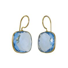 Pradman's new piece of perfectly cut Semiprecious Cushion shaped Drop earrings are gorgeous. Each piece of these earrings are bold yet feminine, colorful, chic, well crafted, and memorable. Please see