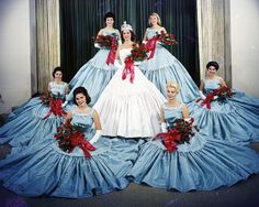 """ Rose Queen Carole Washborn and her Royal Court Pasadena Tournament of Roses 1961 "" Rose Queen, Royal Court, Pageant, Ball Gowns, Tulle, Memories, Formal Dresses, Gabriel, Skirts"