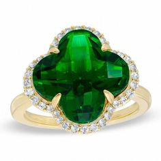Zales 14.0mm Clover-Shaped Simulated Peridot and Lab-Created White Sapphire Ring in Sterling Silver with 14K Gold Plate #14KGold