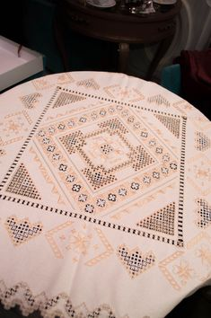 Beautiful needlecraft tablecloth, made in special scandinavian technic embroidery Hardanger.