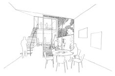 Refurbishment of a house into an evening school and social housing. A small project for a small house. Better : a large glasshouse for a small house. Social Housing, Amazing Buildings, Hand Sketch, Glass House, Diagram, Floor Plans, Architecture, Projects, Dibujo