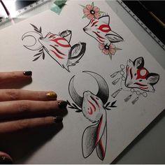 Drawing Sketches, Cool Drawings, Tattoo Drawings, Body Art Tattoos, Manga Tattoo, Tatoos, Fuchs Tattoo, Fox Art, Japanese Art
