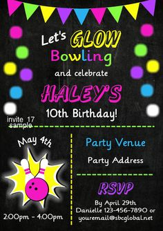 Bowling invitations bowling birthday party cosmic bowling bowling invitations bowling birthday party cosmic bowling invitations birthday party children girls glow party neon birthday pinterest neon filmwisefo