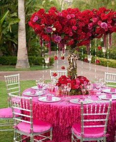 wedding , Hot Pink Garden Wedding Decors ♥ Red Roses and Diamond Garland Acrylic Crystal Beads Wedding Centerpiece Wedding Chair Sashes, Wedding Chairs, Wedding Table, Wedding Day, Trendy Wedding, Spring Wedding, Dream Wedding, Hot Pink Weddings, Pink Wedding Dresses