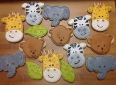 Elephant, Zebra, Bear, Giraffe Decorated Sugar Cookies Jungle Cookies by I Am the Cookie Lady