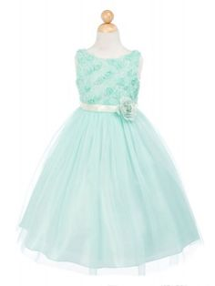 Mint Tulle and Mesh Flower Bodice Flower Girl Dress (Available in Sizes Infant to 12 in 5 Colors)