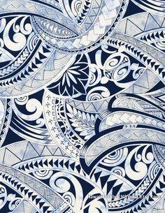 015f2faa Tapa fabric: Polynesian tribal tattoo symbols. Turtle, ocean, shark teeth  and leaf
