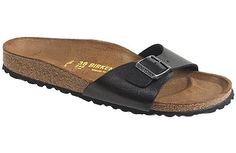 Birkenstock Madrid Licorice  Birko-Flor This simple one-strap style was designed as an exercise sandal because your foot flexes and grips the toe bar while walking, promoting good circulation. You can wear is as a casual summer sandal as well.  #birkenstock #birkenstockexpress.com  $60