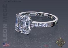 Solitaire asscher cut diamond engagement ring by Leon Megé