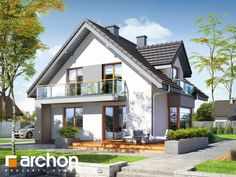 Dom w rododendronach (PN) Modern House Plans, Facade House, Home Fashion, House Design, Mansions, House Styles, Outdoor Decor, Balconies, Buildings