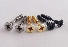 Fake-Plugs-Ohrringe-Schrauben-Piercing-Stecker-Tunnel-Plug-Silber-Gold-Schwarz
