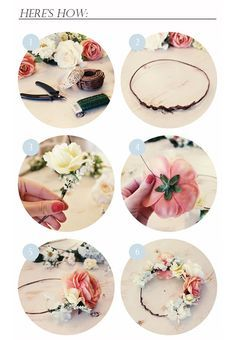 DIY : flower crown for the bride, bridesmaids or flower girl. Love this a lot! I wore a fresh one with veil attached to the back when I got married years ago! It's perfect for any theme but especially cool for a country wedding theme! So pretty and unique compared to those cheap metal crowns that look cheap and give you a headache.