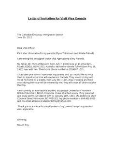 letter invitation visit visa canada