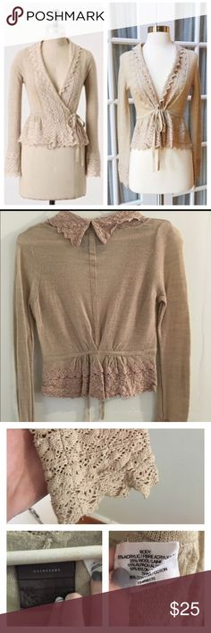 Anthropologie crochet trim sweater Amazing condition no snags or rips. The tag that says Guinevere is loose thought. The color is light tan. Material is dry clean. Anthropologie Sweaters Cardigans