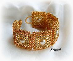 Gold / Pearl Cuff Bracelet Seed bead Bracelet Pearl by Szikati