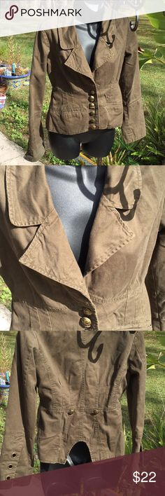 💃Too Cool Sz Small Must Have Olive Jacket 💃 💃Just Too Cool Olive Colored Size Small Jacket Loved ❤️Gently Worn 2-3 x 💃I Live I. Smoke Free Home 💃This Cool Jacket Perfect Addition to Your Wardrobe Has a Military Flair   💃Check my Closet for more Fun Items 💃I Love ❤️ to Bundle & Love ❤️ To Make Deals 💃Happy Holidays BB Dakota Jackets & Coats Blazers