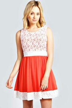 boohoo Larna Lace Contrast Panel Skater Dress - coral £25.00 by boohoo.com