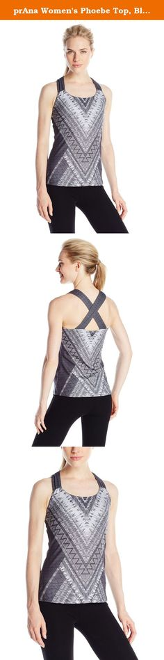 prAna Women's Phoebe Top, Black Panama, Small. Choice is good. Pick your favorite color and print for the performance prAna Phoebe top. Extra-wide contrast straps will frame your design choice, while an internal shelf bra provides support. 45 percent recycled materials will keep your conscience resting easy during yoga practice.