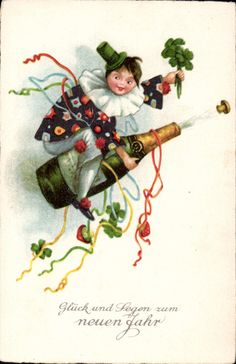 42361 Neujahr - Kind im bunten Kostüm auf Sektflasche | eBay