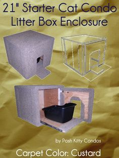 "21"" Starter Cat Condo and Litter Box Enclosure Door: Round, Slider: No Covering, Carpet Color: Custard by Posh Kitty Condos - Price: $229.95 - #catlitterboxfurniture #cat #litter #box #furniture - http://www.catbedandtoy.com/cat-litter-box-furniture"