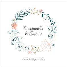 Faire-part de Mariage : Couronne de Fleurs à personnaliser sur Popcarte.com