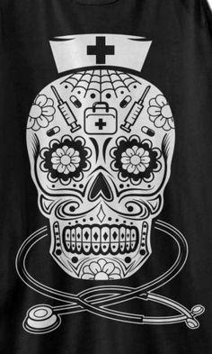 sugar skull by crazycousincrafts on etsy nursing Body Art Tattoos, Sleeve Tattoos, Cool Tattoos, Awesome Tattoos, Piercing Tattoo, I Tattoo, Compass Tattoo, Hospice Nurse, Sugar Skull Tattoos