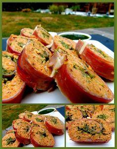 Roulé de poulet au jambon de Parme et au pesto Bruschetta, Salmon Burgers, Pesto, Bon Appetit, Bagel, Baked Potato, Potatoes, Bread, Ethnic Recipes