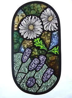 Juliet Forrest: Lavender Marguerite stained glass artwork: information and images