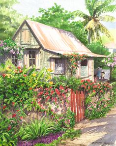 Garden Gate by Anne Miller, x watercolour print Garden Gates, Watercolor Print, Watercolours, Caribbean, Cabin, Architecture, House Styles, Gallery, Home Decor