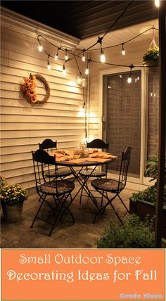 How to decorate a small outdoor patio space for Fall entertaining! In…