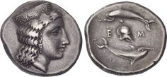 Stater from Argos, Argolis c. 370-350 BCE Extremely rare, only one of two known examples of this coin. The coin shows the head of Hera to the right, her hair flowing down the back of her neck, wearing stephane ornamented with palmettes, earring and necklace of pearls. On the reverse, ΑRΛΕΙOΝ, two dolphins swimming in a circle to left; between them, Corinthian helmet right between Ε-Μ.