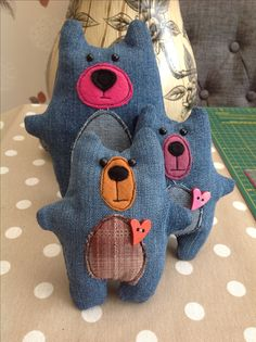 Recycled denim bears