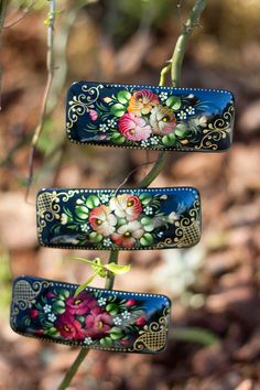 Russian Zhostovo Floral Style Hair Barrette by BuyRussianGifts, $12.95