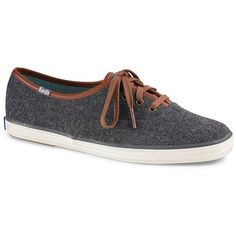 Keds Champion Wool Sneakers ($40) ❤ liked on Polyvore featuring shoes, sneakers, grey, lacing sneakers, wool shoes, almond toe shoes, keds and lace up shoes