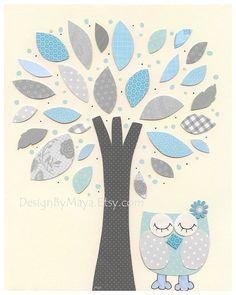 Love the Tree!! Baby Room Decor Nursery Art owl nursery baby print by DesignByMaya