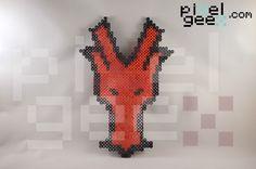 Perler bead sprite by Pixel Geex of Dragon Nest map marker in Skyrim http://www.pixelgeex.com/skyrim-map-markers/