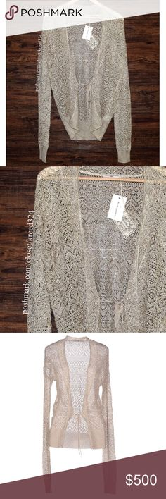 MES DEMOISELLES PARIS Sweater Top Serena Bohemian Size EUR 3, US Large.  New With Tags. $367 Retail + Tax.  • Beautiful metallic cardigan featuring extra long sleeves & ribbed trimming along hemlines. • Semi-stretchy with gold & beige metallic detailing. • Tie at lower front. • Unlined, open-knit.  • Measurements + composition provided in comment(s) section below.  {Southern Girl Fashion - Closet Policy}   ✔️ Same-Business-Day Shipping (10am CT). ✔️ Reasonable best offer considered when…