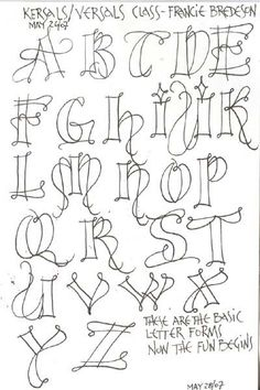 """""""Kersal Exemplars"""" - Potentially a good Zentangle alphabet. Doodle Lettering, Creative Lettering, Lettering Styles Alphabet, Lettering Ideas, Lettering Tutorial, Calligraphy Letters, Caligraphy, Islamic Calligraphy, Letter Art"""