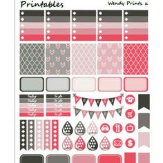 ***PRINTABLE PLANNER STICKERS - Pink and Grey Weekly Kit. Perfect for the Erin Condren planners***