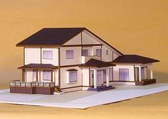 PAPERMAU: Two Storey House With Large Roof Paper Model - by Anraku