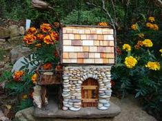 I've completed my beach pebble fairy house, yay! Fairy Houses, Tree Houses, Pebble Art, Ladder Decor, Projects To Try, Miniatures, Fairy Gardens, Stone, Wood