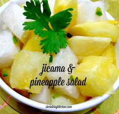 Crunchy jicama and fresh, sweet pineapple come together with jalapenos and lime for this refreshing salad! shrinkingkitchen.com