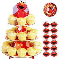 Elmo cupcake set...stand icing decorations and cup liners